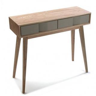 Console ARVIKA en bois gris et tiroir laque taupe