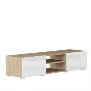 ATLANTIC Meuble tv structure chêne Bardolino et portes laquées blanc brillant moyen modèle