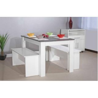 ATLANTIQUE Table repas 4 personnes blanche avec plateau aspect béton