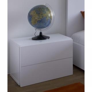 AURORA chevet blanc mat avec 2 tiroirs