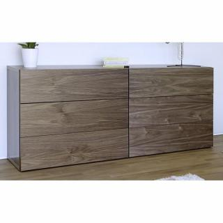 AURORA Commode TemaHome 6 tiroirs en noyer