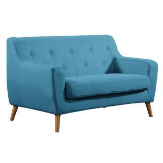 Canapé 2 places style scandinave BAGNOLO tissu tweed bleu azur