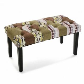 Banc SAVANA tissu marron patchwork