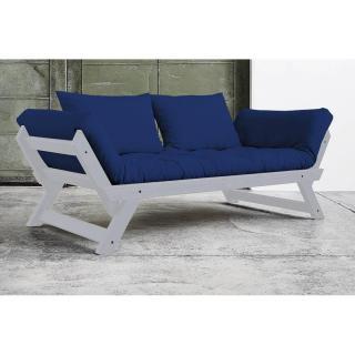Banquette méridienne BEBOP GRIS matelas futon bleu royal couchage 75*200cm