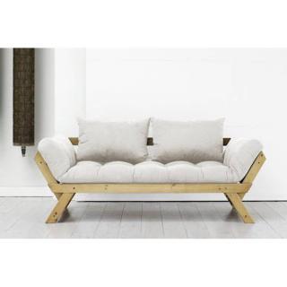 Banquette méridienne pin massif miel futon écru BEBOP couchage 75*200cm