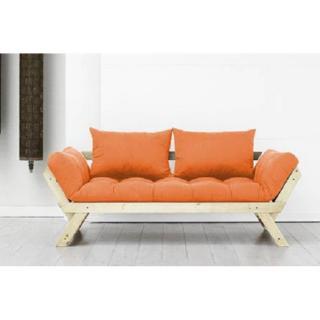 Banquette méridienne style scandinave futon orange BEBOP couchage 75*200cm