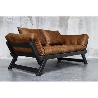 Banquette méridienne BEBOP noire futon en tissu enduit vintage couchage 75*200cm
