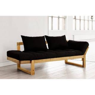 Banquette méridienne pin massif miel futon noir EDGE couchage 75*200cm