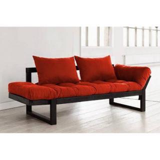 Banquette méridienne noire futon rouge EDGE couchage 75*200cm
