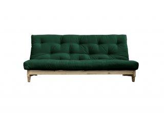 Banquette convertible futon FOLKER bois naturel coloris vert forêt couchage 140*200 cm.