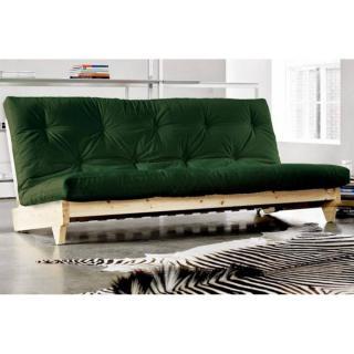 Banquette convertible FRESH pin coloris vert forêt couchage 140*200 cm.