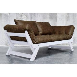 Banquette méridienne BEBOP GRIS futon en tissu enduit vintage couchage 75*200cm
