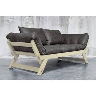Banquette méridienne BEBOP en pin massif  futon en tissu enduit vintage couchage 75*200cm