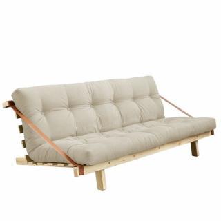 Banquette futon JUMP en pin massif coloris beige couchage 130 cm.