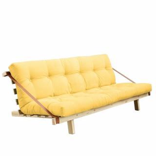 Banquette futon JUMP en pin massif coloris jaune couchage 130 cm.