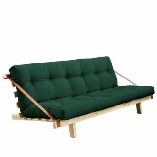Banquette futon JUMP en pin massif coloris vert forêt couchage 130 cm.