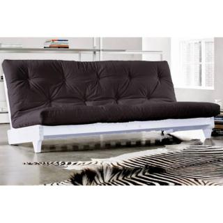 Banquette lit blanc futon noir FRESH grey graphite 3 places convertible couchage 140*200cm