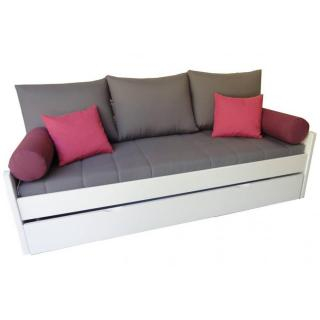 Banquette gigogne ARSENE grise matelas confort BULTEX 80*190cm