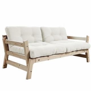 Banquette convertible STEP en pin massif matelas futon blanc naturel couchage 75*200cm
