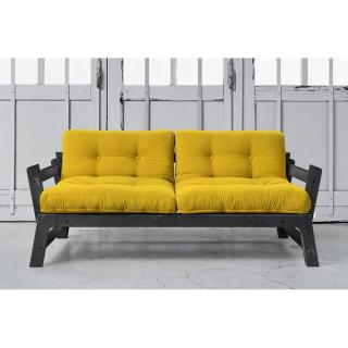 Banquette convertible STEP noire matelas futon jaune couchage 75*200cm