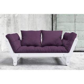 Banquette méridienne blanche convertible matelas futon violet BEAT couchage 75*200cm