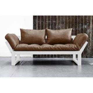 Banquette méridienne blanche EDGE futon en tissu enduit vintage chocolat couchage 75*200cm