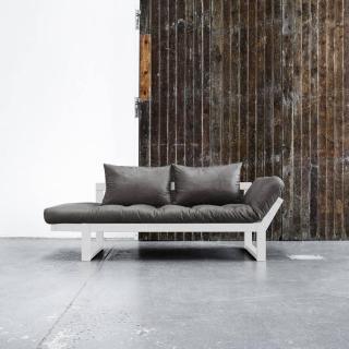 Banquette méridienne blanche EDGE futon en tissu enduit vintage noir couchage 75*200cm