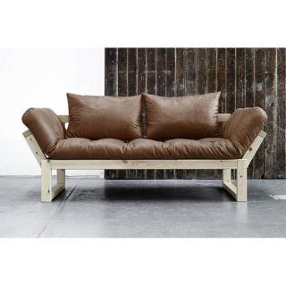 Banquette méridienne en pin EDGE futon en tissu enduit vintage couchage 75*200cm