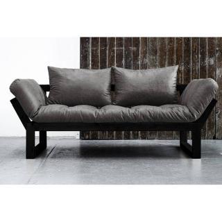 Banquette méridienne noire EDGE futon en tissu enduit vintage couchage 75*200cm