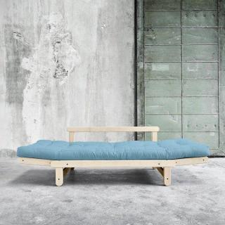 Banquette méridienne futon BEAT pin naturel tissu bleu clair couchage 75*200 cm.