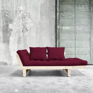 Banquette méridienne futon BEAT pin naturel tissu bordeaux couchage 75*200 cm.