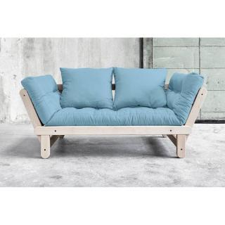 Banquette méridienne convertible futon bleu celeste BEAT BEECH couchage 75*200cm