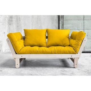 Banquette méridienne convertible futon jaune BEAT BEECH couchage 75*200cm