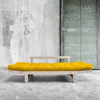 Banquette méridienne convertible BEAT BEECH matelas futon couchage 75*200cm