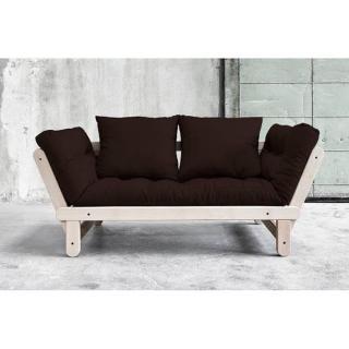 Banquette méridienne convertible futon marron BEAT BEECH couchage 75*200cm