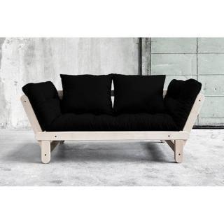 Banquette méridienne futon BALTIK pin naturel tissu noir couchage 75*200 cm.