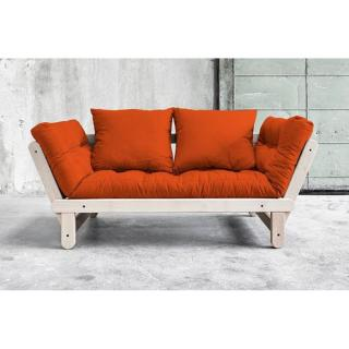 Banquette méridienne convertible futon orange BEAT BEECH couchage 75*200cm
