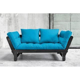 Banquette méridienne noire convertible futon bleu azur BEAT couchage 75*200cm