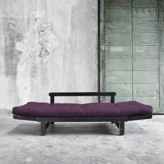 Banquette méridienne noire convertible futon violet BEAT couchage 75*200cm