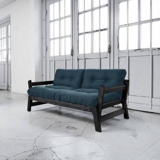 Banquette convertible STEP noire matelas futon deep blue couchage 75*200cm