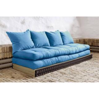 Banquette convertible tatami CHICO matelas futon bleu azur couchage 2 x 70*200cm