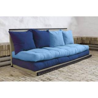 Banquette convertible tatami CHICO matelas futon bleu royal/celeste couchage 2 x 70*200cm