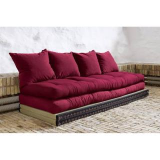 Banquette convertible tatami CHICO matelas futon bordeaux couchage 2 x 70*200cm