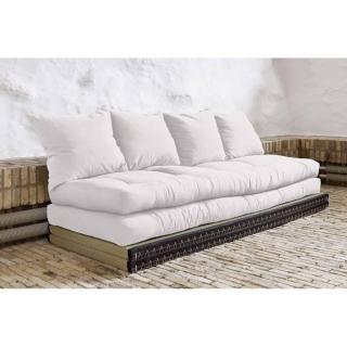 Banquette convertible tatami CHICO matelas futon écru couchage 2 x 70*200cm