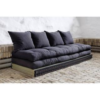 Banquette convertible tatami CHICO matelas futon grey graphite couchage 2 x 70*200cm