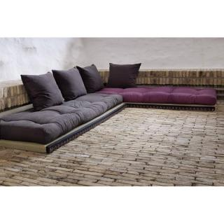 Banquette convertible tatami CHICO matelas futon grey graphite / violet couchage 2 x 70*200cm