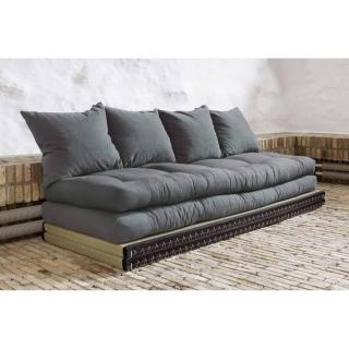 Banquette convertible tatami CHICO matelas futon gris couchage 2 x 70*200cm