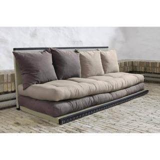 Banquette convertible tatami CHICO matelas futon gris/taupe couchage 2 x 70*200cm