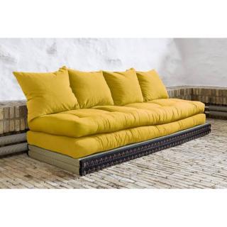 Banquette convertible tatami CHICO matelas futon jaune couchage 2 x 70*200cm