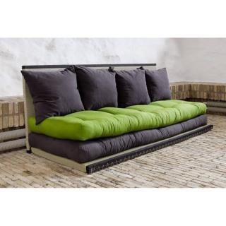 Banquette convertible tatami CHICO matelas futon grey graphite/lime couchage 2 x 70*200cm